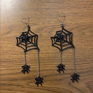 Jewelry - HALLOWEEN Earrings | Long Black Spiderwebs
